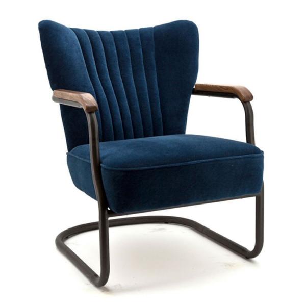 Fluwelen fauteuil met armleuning