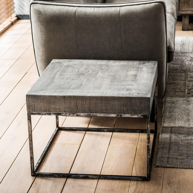 Vierkante salontafel antiek grijs