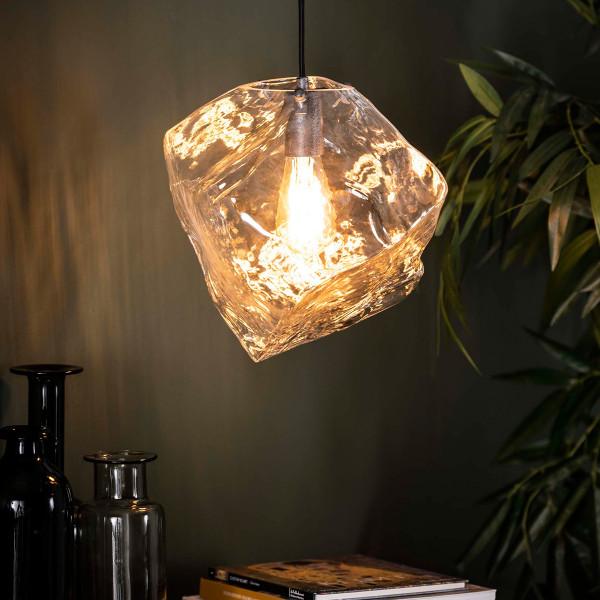 Glazen hanglamp steenvorm