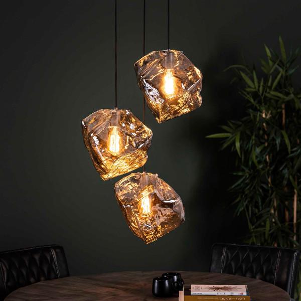 Glazen hanglampen steenvorm