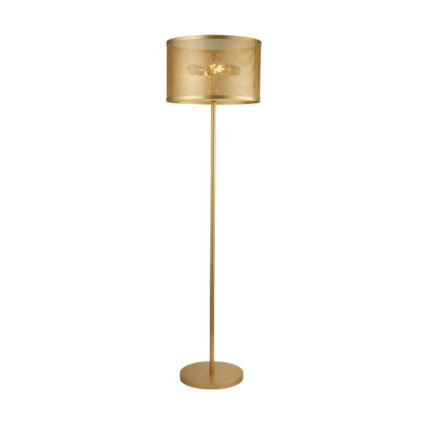 Gouden vloerlamp van metaal gaas