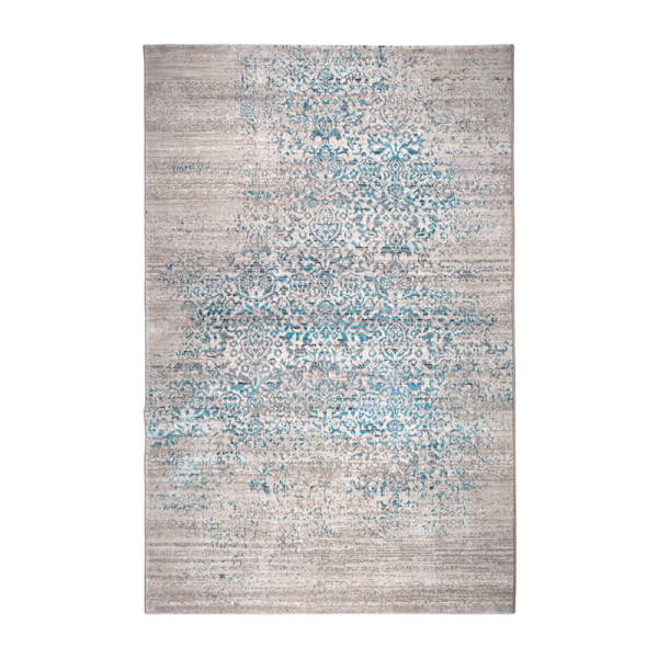 Grijs met blauw vloerkleed