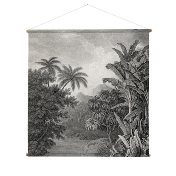 Wandkleed met jungle-print in grijstinten
