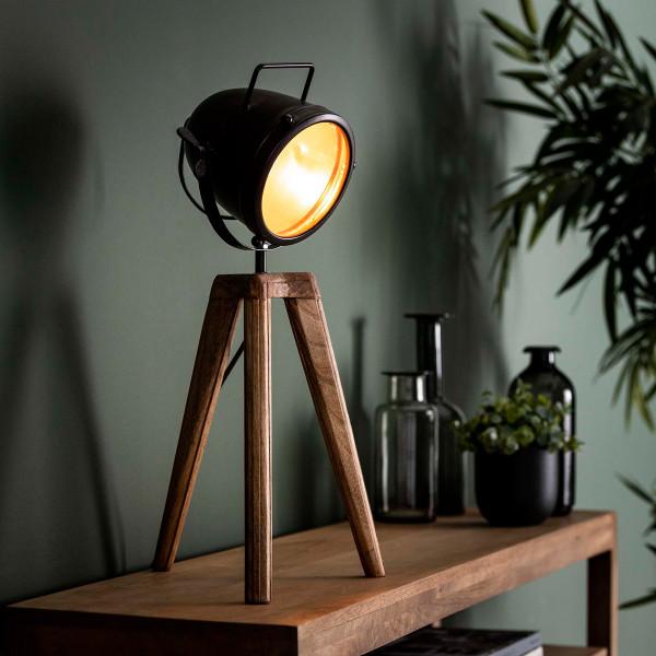 Houten driepoot spot tafellamp
