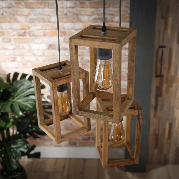 Houten hanglamp driedelig