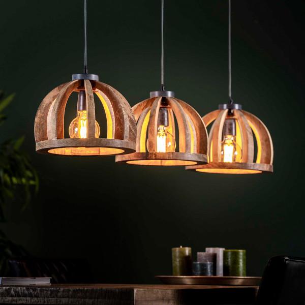 Houten hanglamp halve bollen