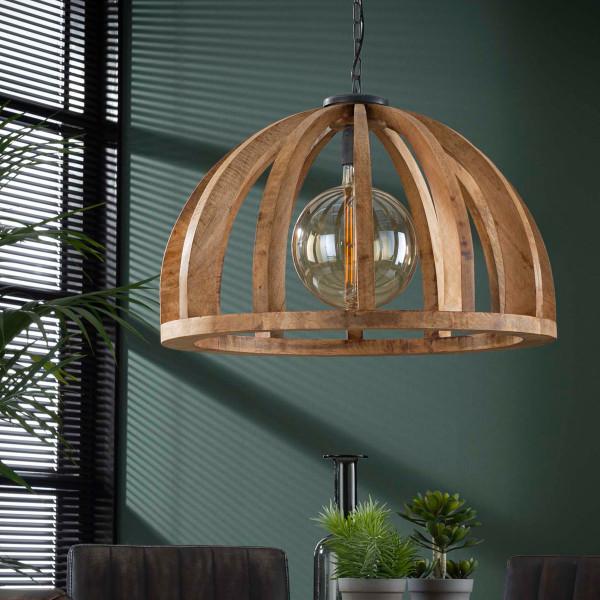 Houten hanglamp halve open bol
