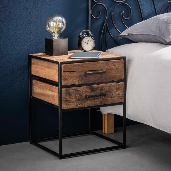 Super Industrieel nachtkastje oud hout 2 lades | Giani Float | LUMZ SV-42