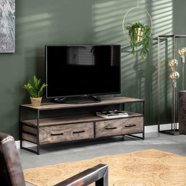 Industrieel tv-meubel van grijs hout