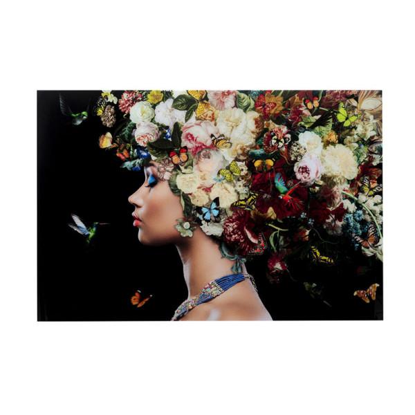 Glas schilderij bloemen