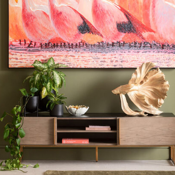 Tv-meubel marmer, hout en koper