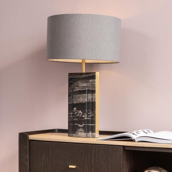 Tafellamp zwart marmer goud