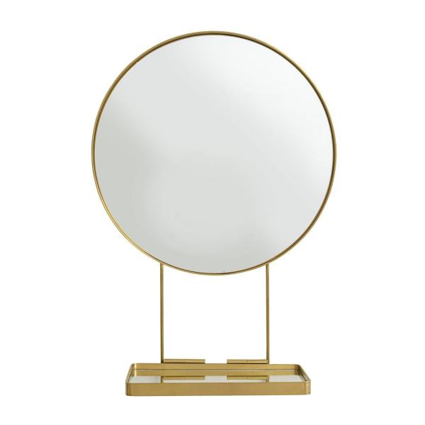 Ronde messing spiegel met plank