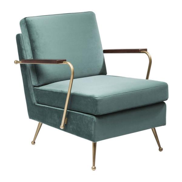 Blauwe fluwelen fauteuil