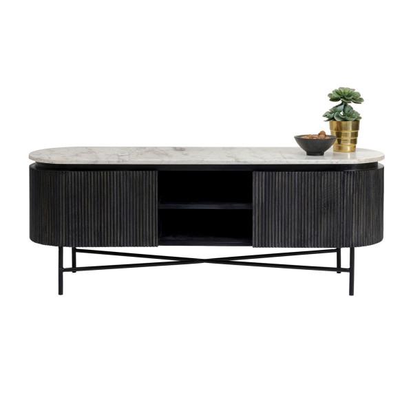 Ovaal tv-meubel zwart met wit marmer