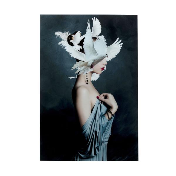 Glas schilderij duiven