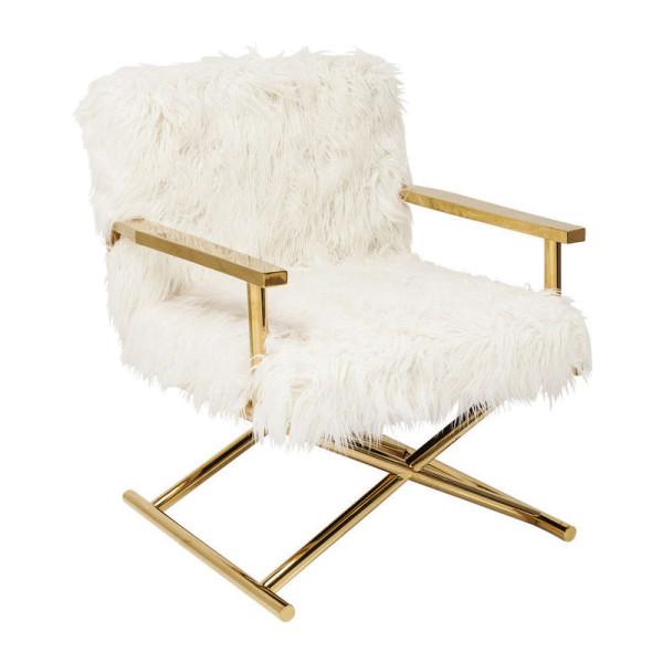 Design fauteuil met gouden poot