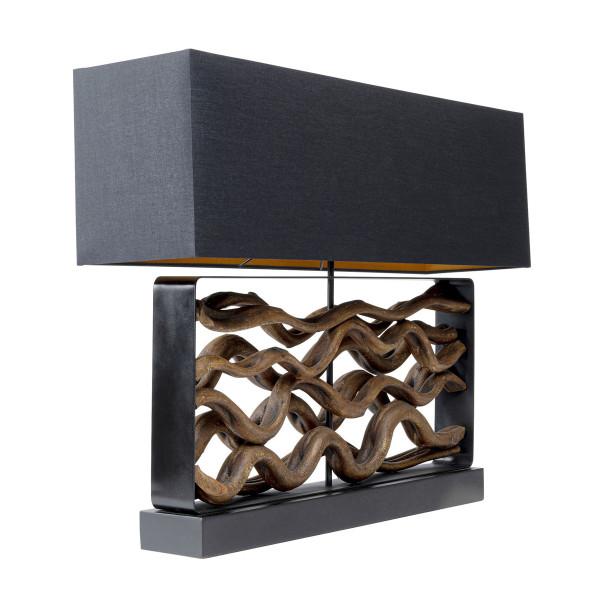 Zwarte tafellamp met hout