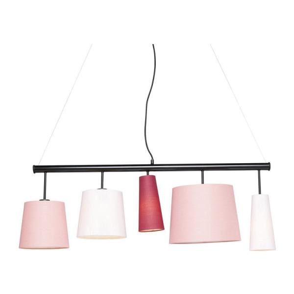 Hanglamp met 5 roze lampenkappen