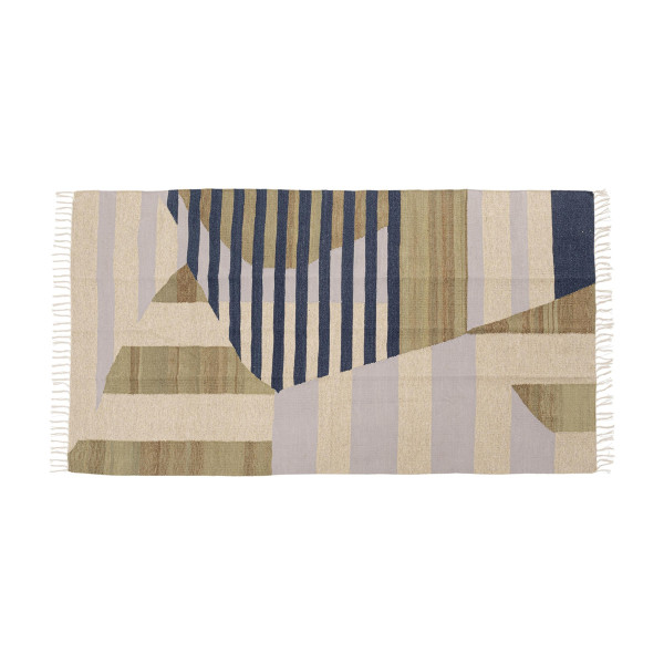 Naturel tapijt met blauw