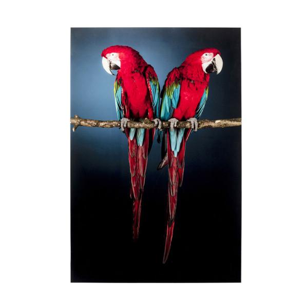 Glas schilderij papegaaien