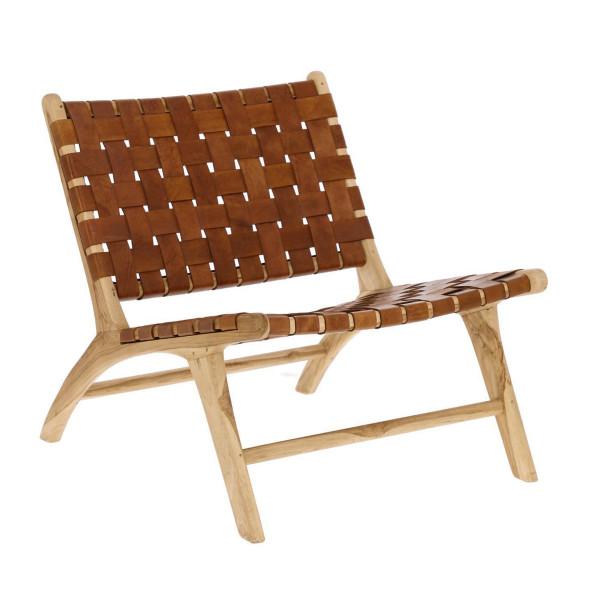 Houten fauteuil met leer