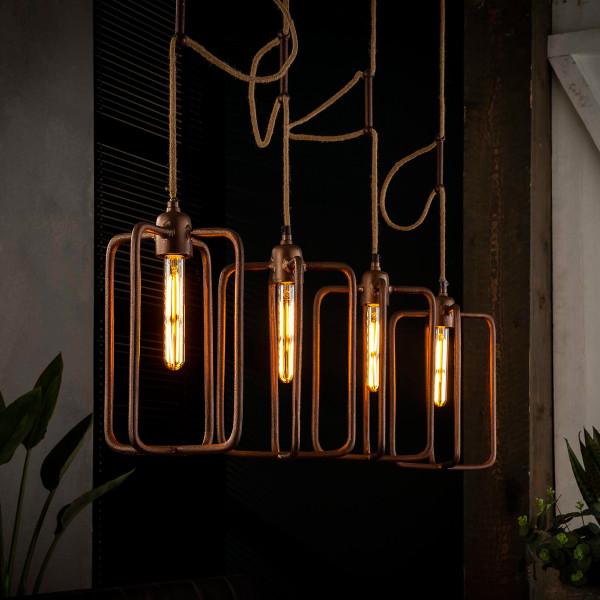 Koperen hanglamp 4-delig