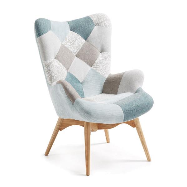 Patchwork blauwe fauteuil