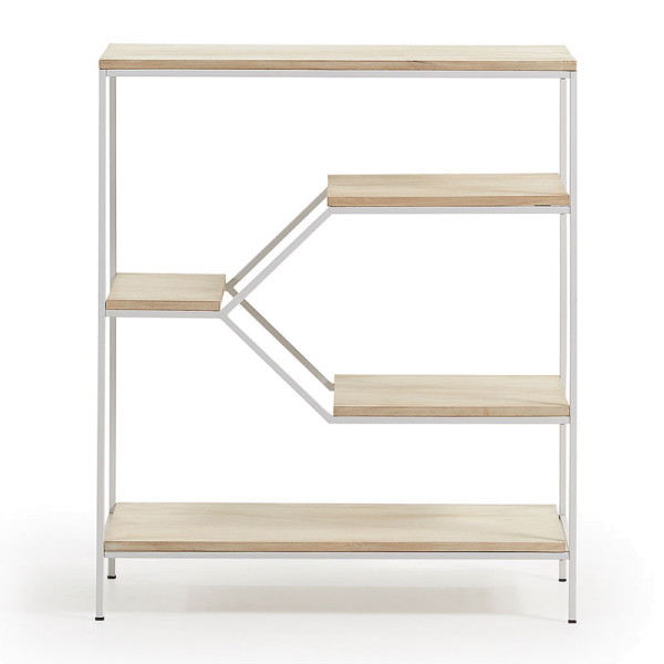 Open metalen houten kast wit 80x93