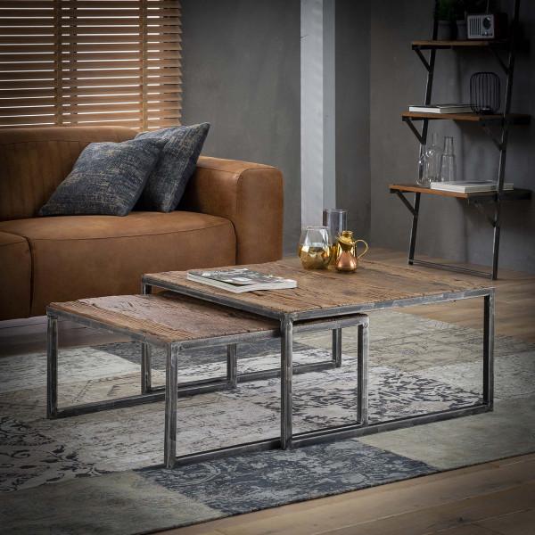 Massief hardhouten salontafelset