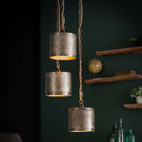 Metalen hanglamp antiek nikkel