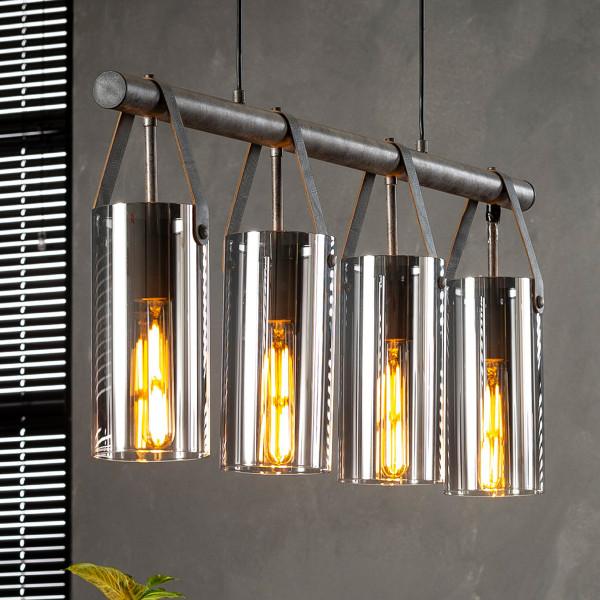 Metalen hanglamp met verchroomd glas