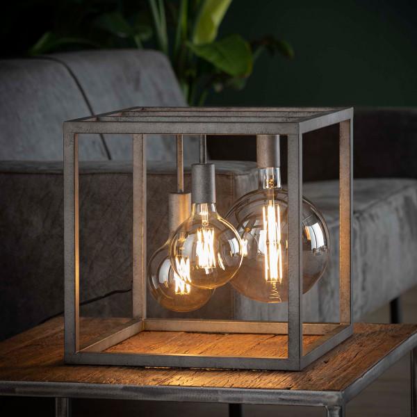 Oudzilveren open kubus tafellamp