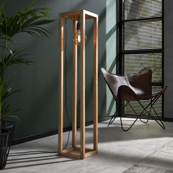 Rechthoekige houten stalamp