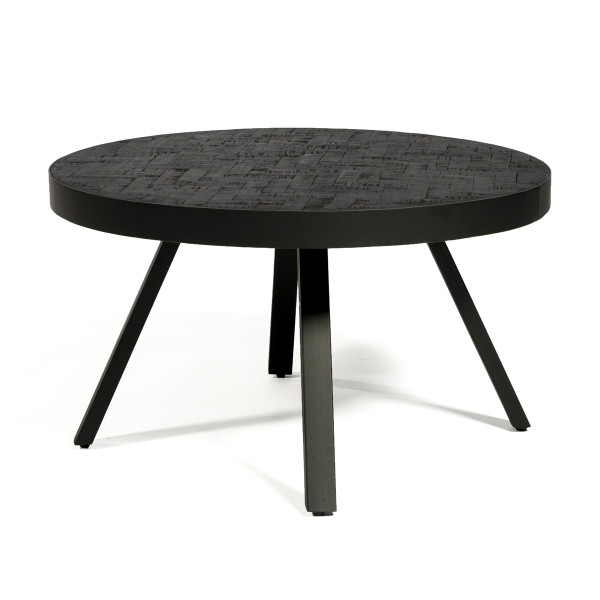 Ronde salontafel zwart teak hout
