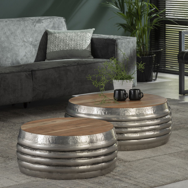 Ronde salontafelset metaal met hout