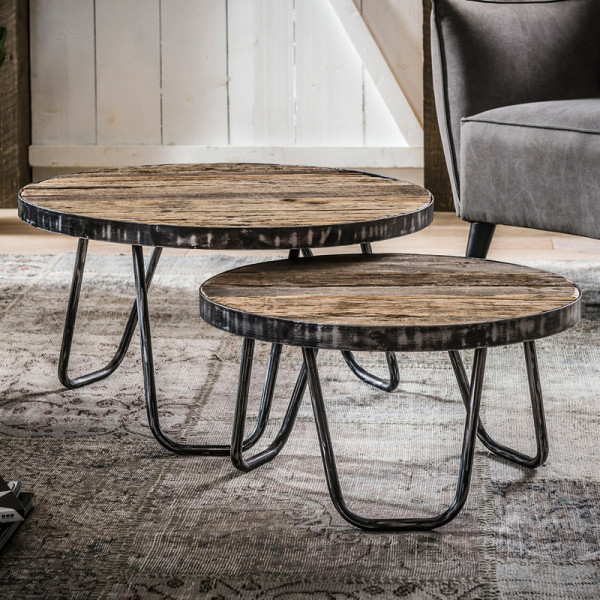 Ronde salontafelset van hardhout