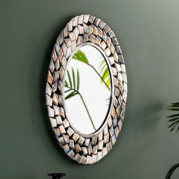 Ronde spiegel zilver