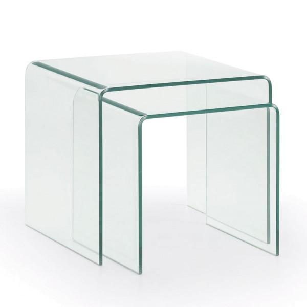Set glazen bijzettafels