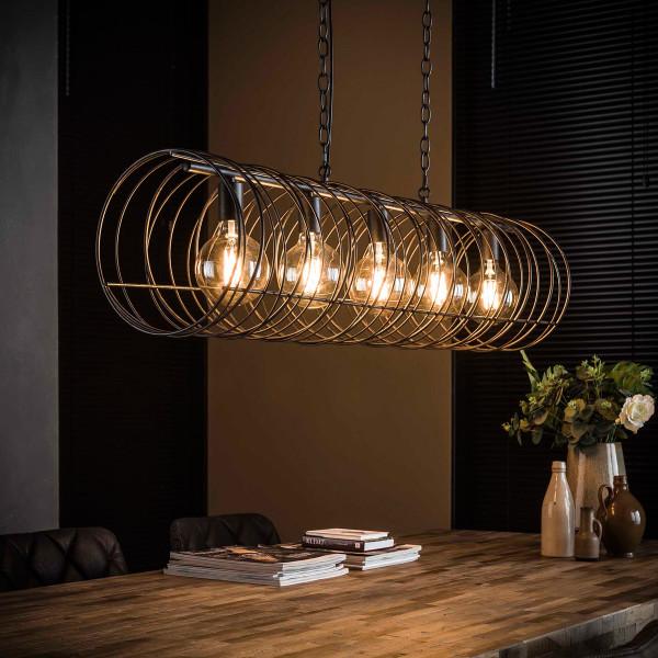 Spiraal eettafel hanglamp zwart staaldraad