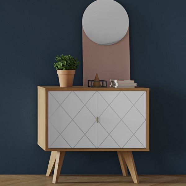 Klein dressoir eiken met wit