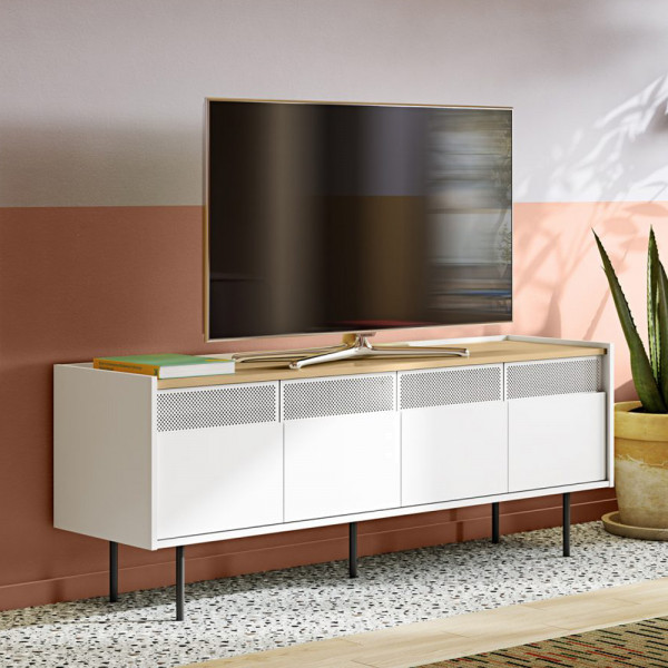 Wit tv-meubel met houten blad