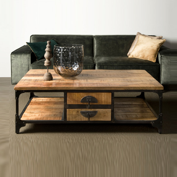 Bruine houten salontafel