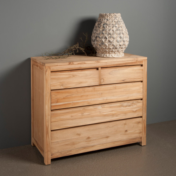 Commode teakhout met 5 lades