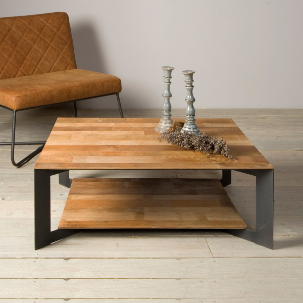 Vierkante salontafel metaal en hout