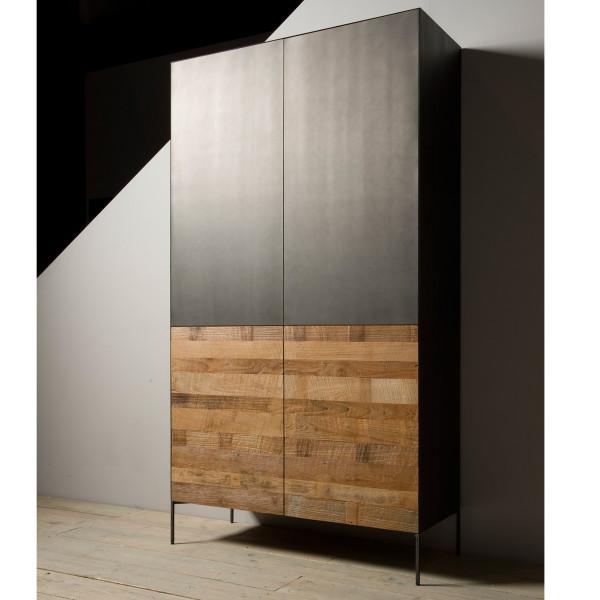 Wandkast metaal en hout
