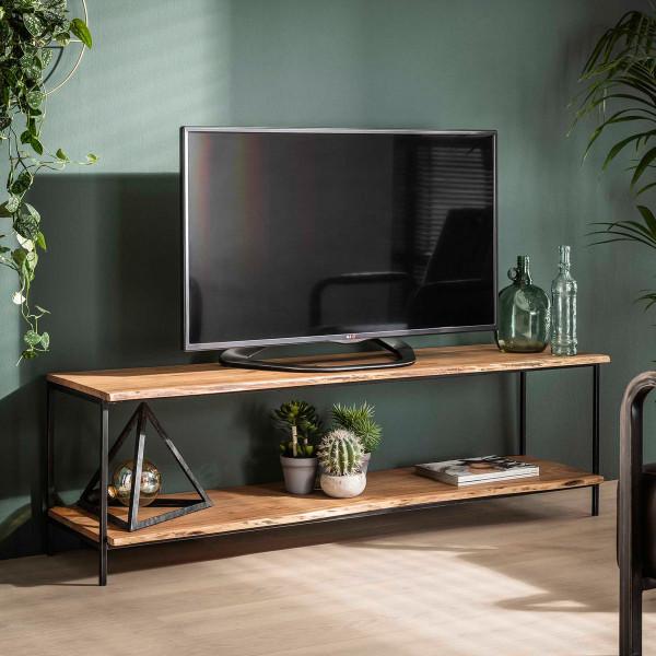 Tv-meubel met boomstam planken