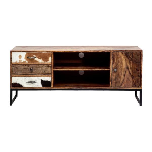 Tv-meubel sheesham en koehuid