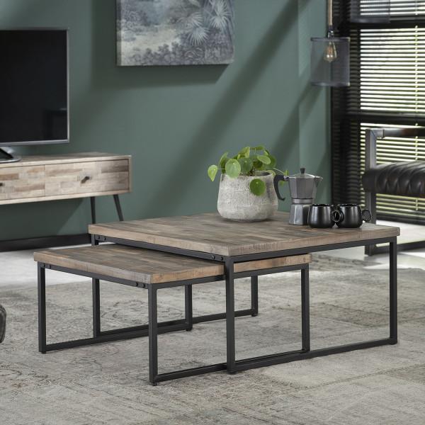 Vierkante salontafelset teakhout 75x75