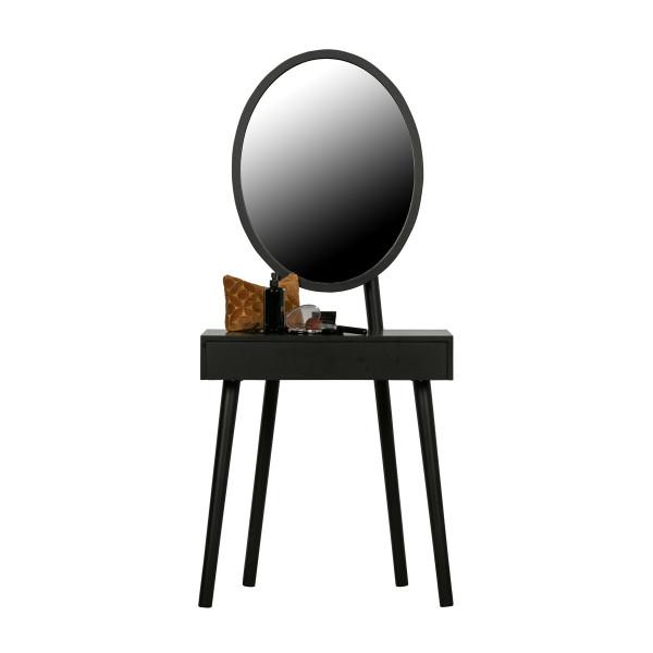 Zwarte kaptafel met spiegel